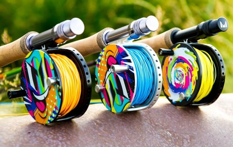 three rods with different color lines