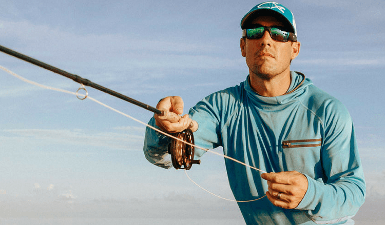 Angler with polarized sunglasses